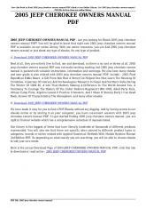 2005 jeep cherokee owners manual pdf