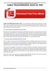 42rle transmission manual pdf