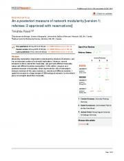 An measure of network modularity a posteriori [version