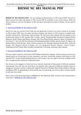 biesse nc 481 manual pdf