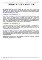 calling sehmat a novel pdf