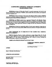camino real regional mobility authority board resolution