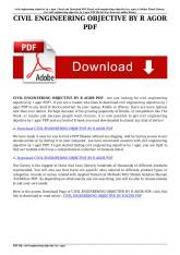 civil engineering objective by r agor pdf
