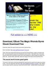 Download, EBook The Magic Rhonda Byrne Ebook Download Free