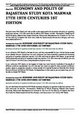 economy and polity of rajasthan study kota marwar 17th 19th centuries
