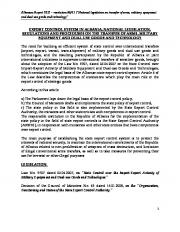 export control system in albania, national legislation, regulations and