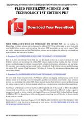fluid fertilizer science and technology 1st edition pdf