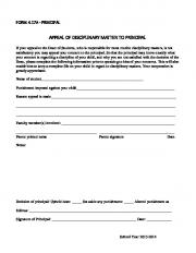 Form 4.17A - Appeal of Disciplinary Matter to Principal  AWS