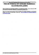 fox on wheels by edward marshall illustrated james pdf