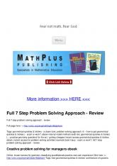Full 7 Step Problem Solving Approach - Review