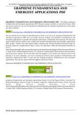 graphene fundamentals and emergent applications pdf