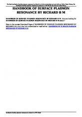 handbook of surface plasmon resonance by richard