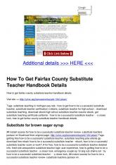 How To Get Fairfax County Substitute Teacher Handbook Details