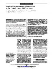 Isoniazid-Monoresistant Tuberculosis in the United
