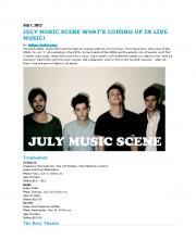JULY MUSIC SCENE WHAT'S COMING UP IN LIVE MUSIC!