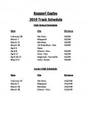 Kopperl Eagles 2019 Track Schedule
