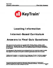 Locating Information Internet-Based Curriculum Answers to Final Quiz ...
