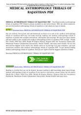 MEDICAL ANTHROPOLOGY TRIBALS OF RAJASTHAN PDF