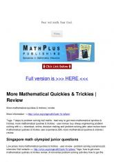 More Mathematical Quickies & Trickies | Review