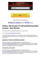 Online, Get Access To self-publishing author forums