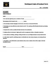 Participant Code of Conduct Form