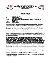 Pop Warner Little Scholars, Inc. MEMORANDUM - League Athletics