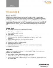 Precalculus B - Greenways Academy