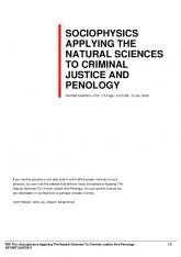 sociophysics applying the natural sciences to criminal justice and