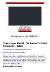 Student Jobs Abroad : Get Access To Online