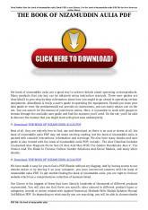 the book of nizamuddin aulia pdf