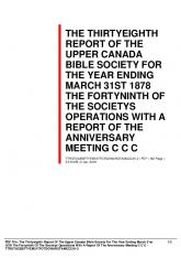 the thirtyeighth report of the upper canada bible society for the year