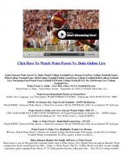 Watch Wake Forest Vs. Duke Online College Football Online Games